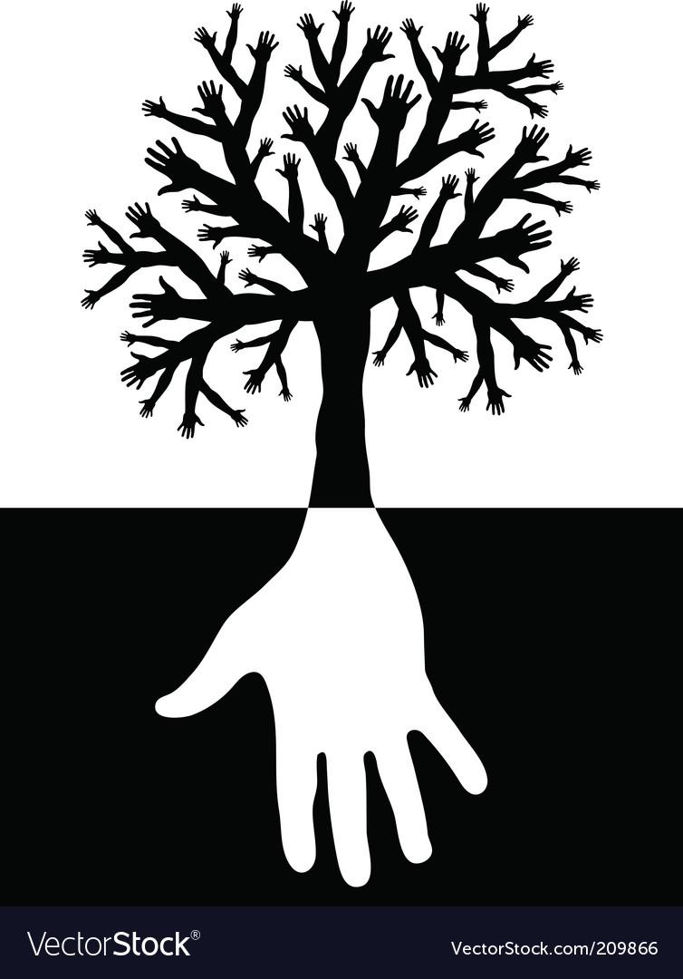 Tree of hands vector
