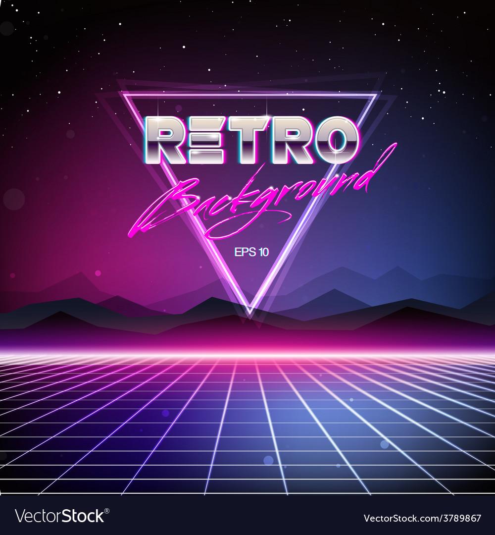 80s retro sci-fi background vector