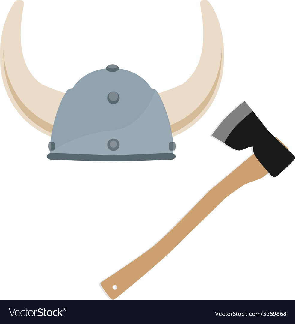 Viking hat and axe vector