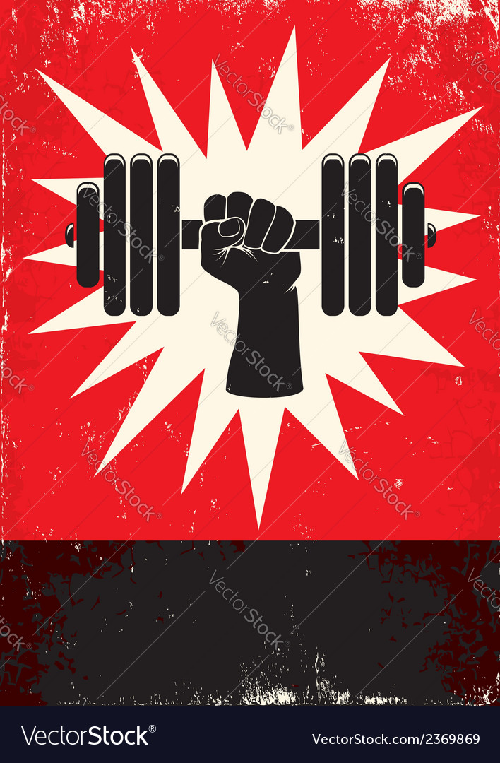 Hand and dumbbells vector
