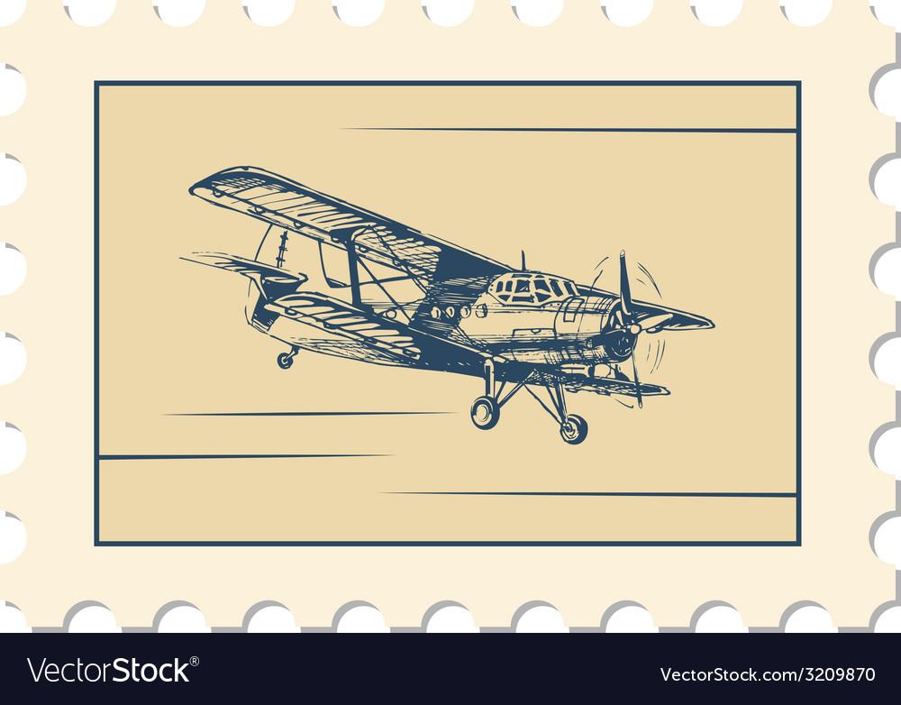Post stamp biplane vector