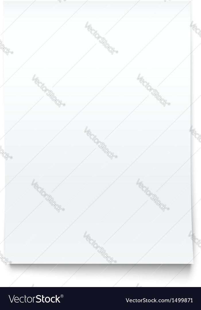 Isolated on white blank office paper mock-up vector