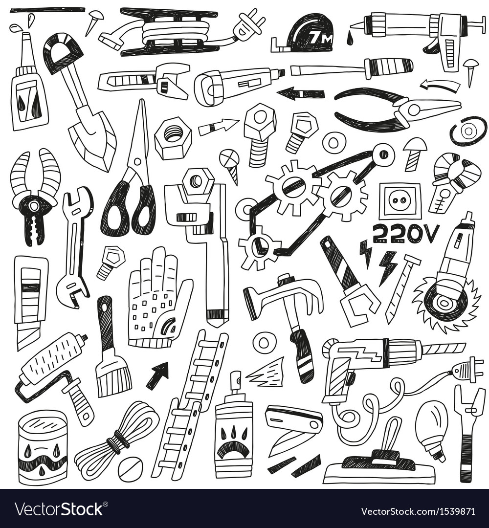 Work tools - doodles vector
