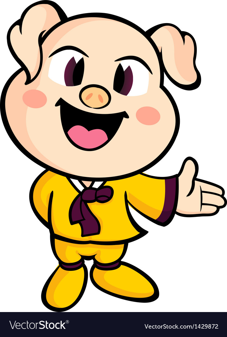Pig mascot suggests the direction vector