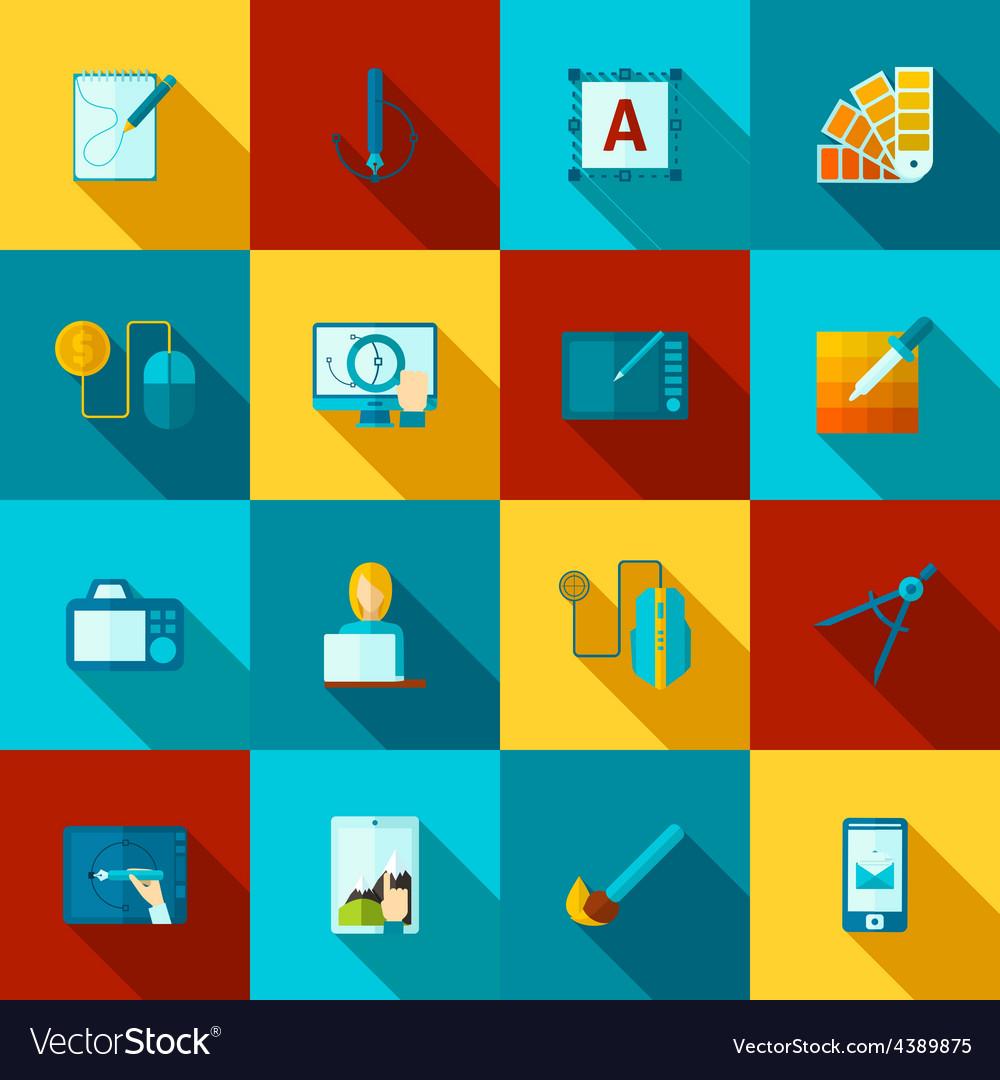 Graphic design flat icons set vector