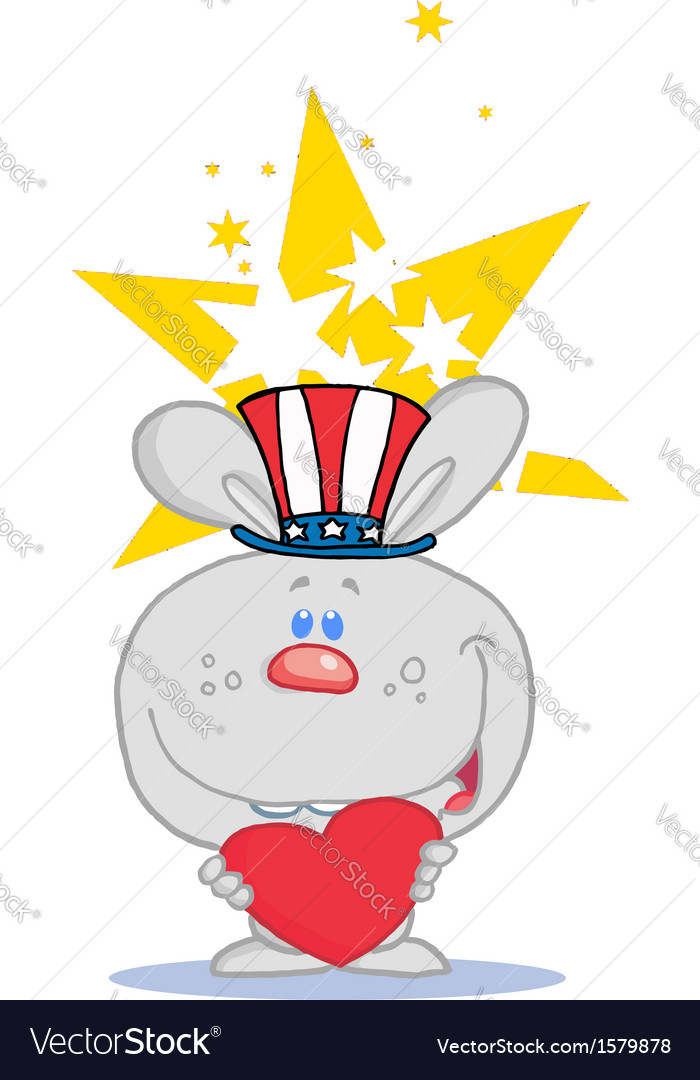 Patriotic rabbit cartoon vector