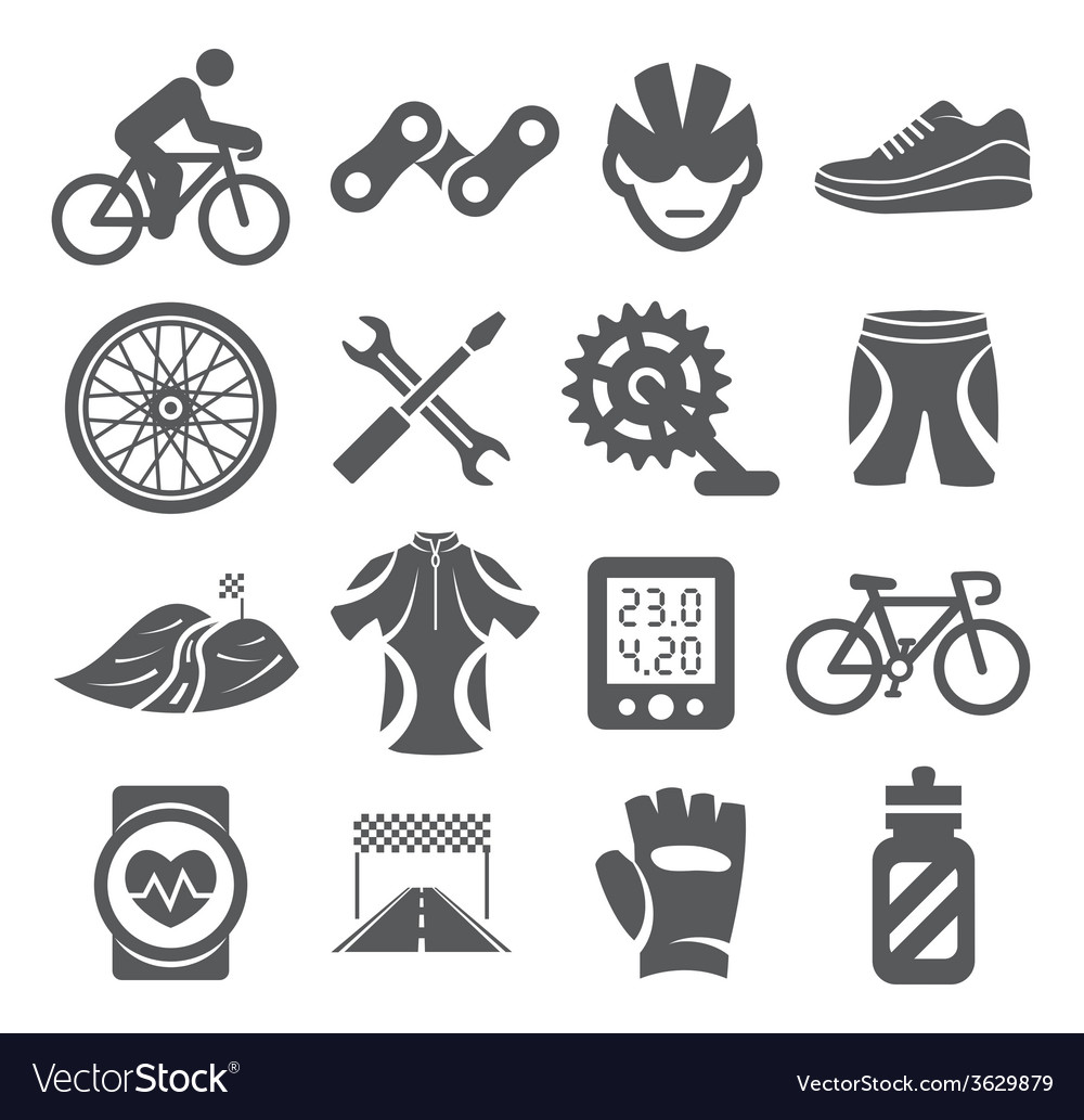Biking icons vector