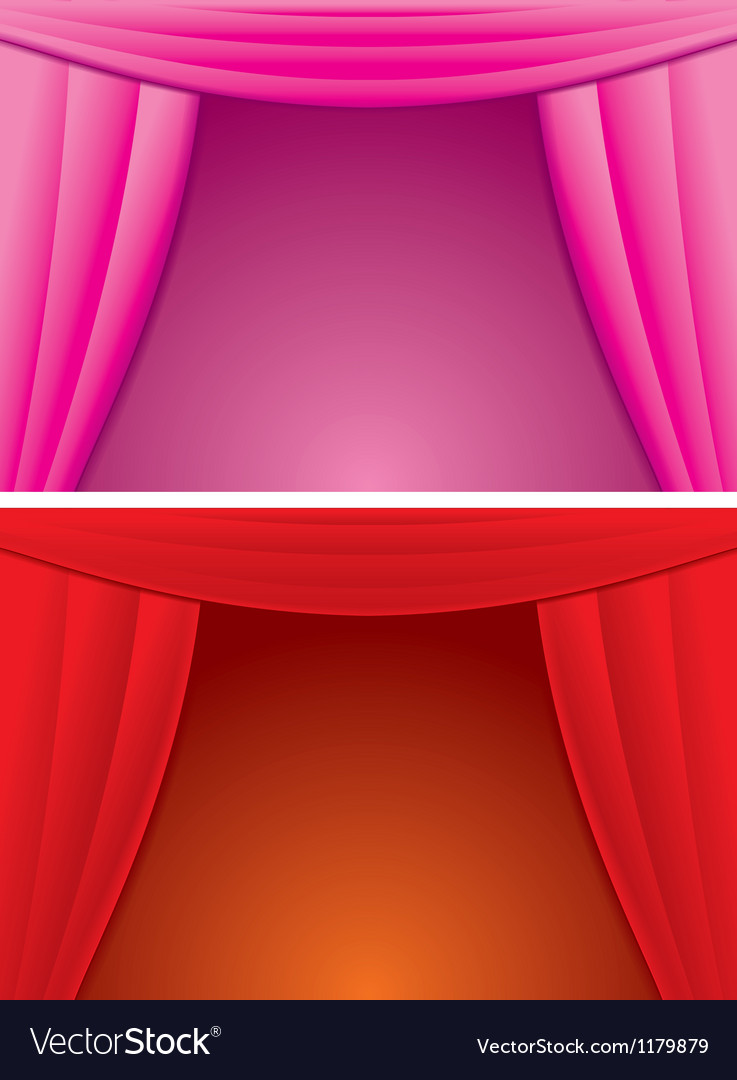 Elegance red and pink curtain vector