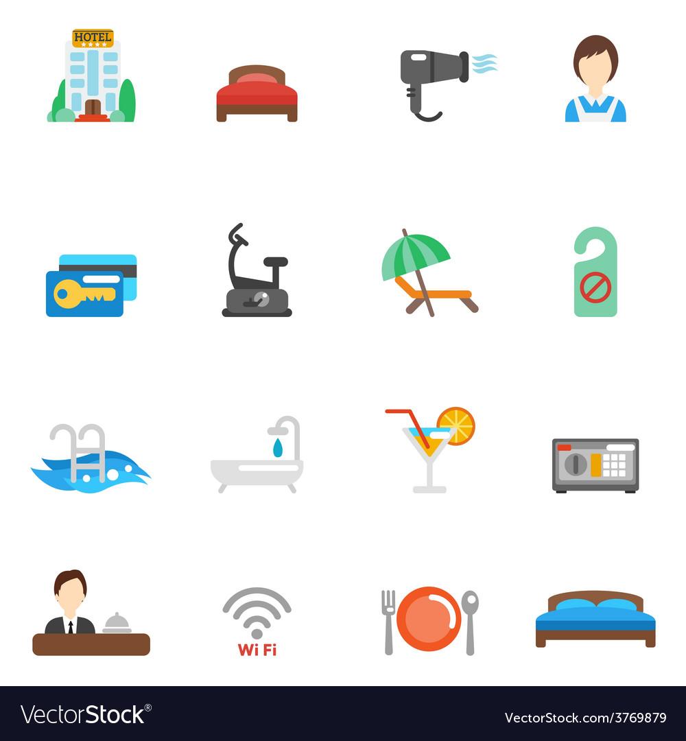 Hotel flat icon set vector