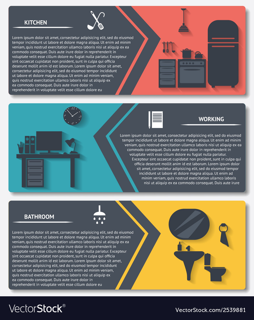 Info graphic of house interior banners vector