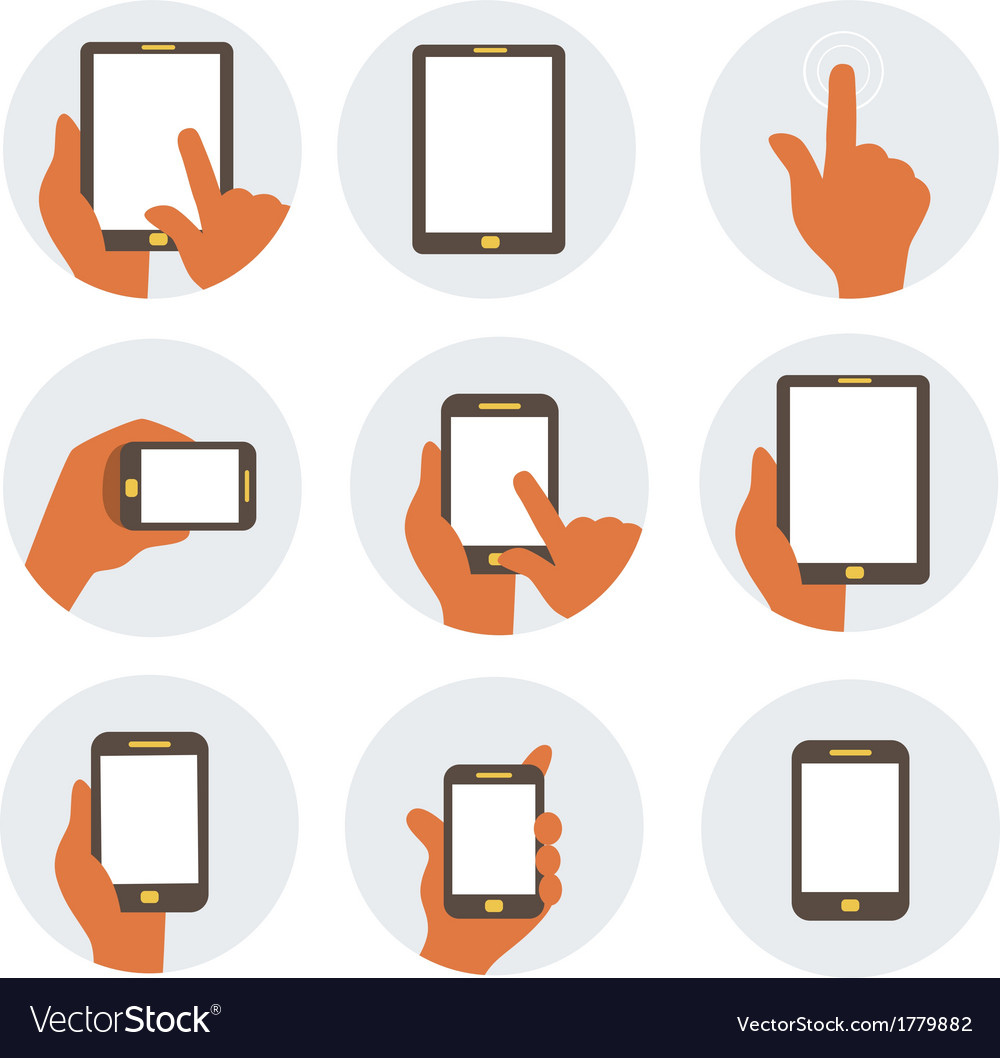 Mobile communication flat icons vector
