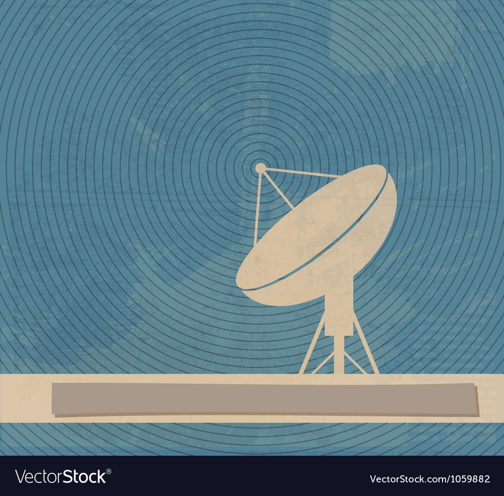 Satellite dish retro poster vector