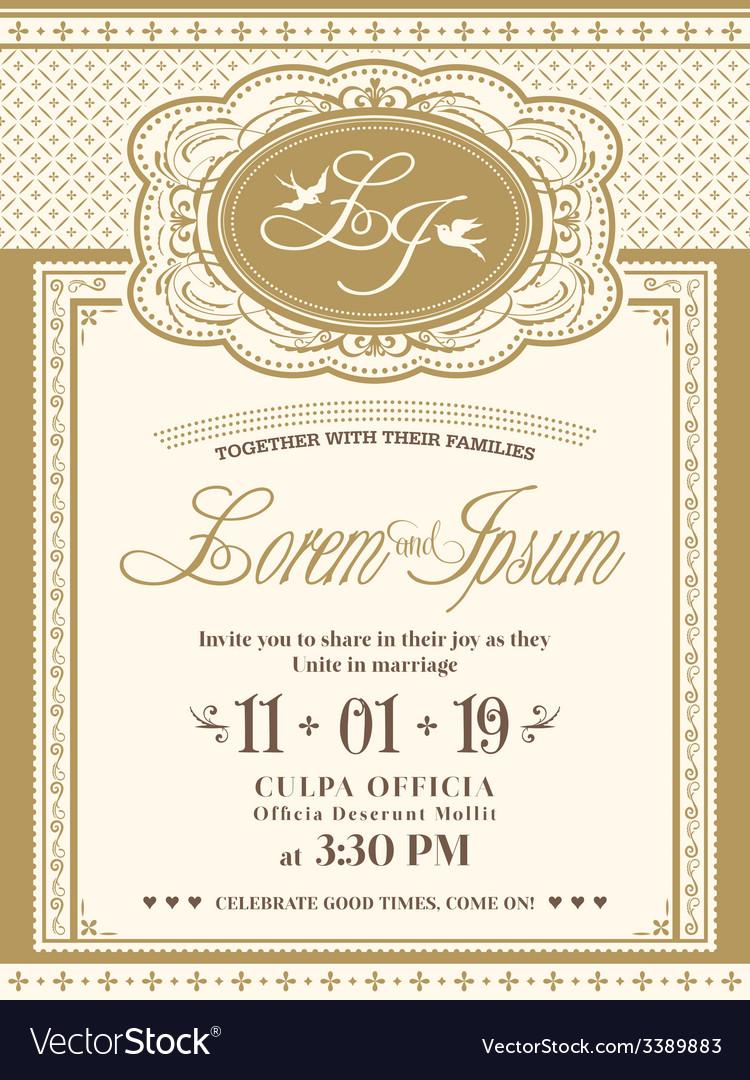 Vintage frame wedding invitation card background vector