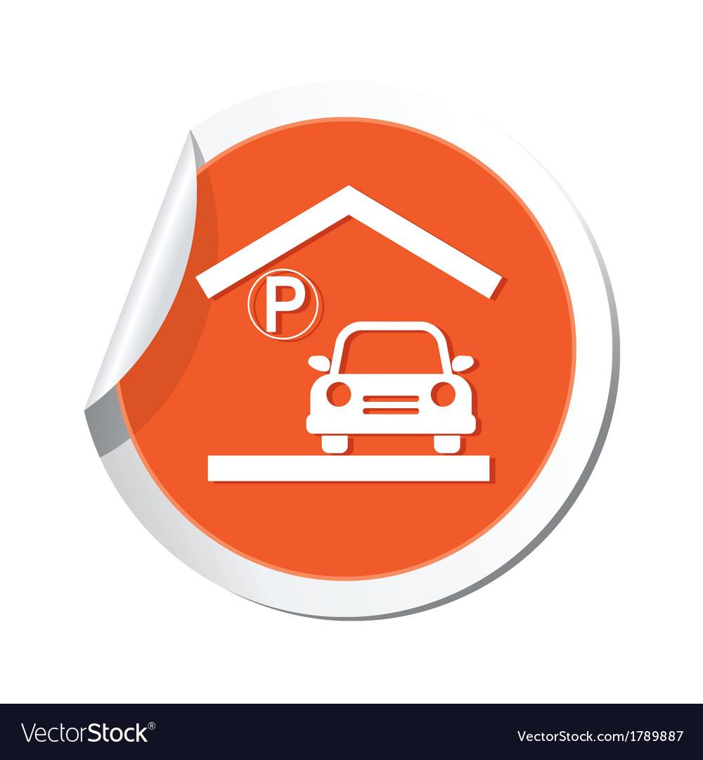Parking under roof icon orange sticker vector