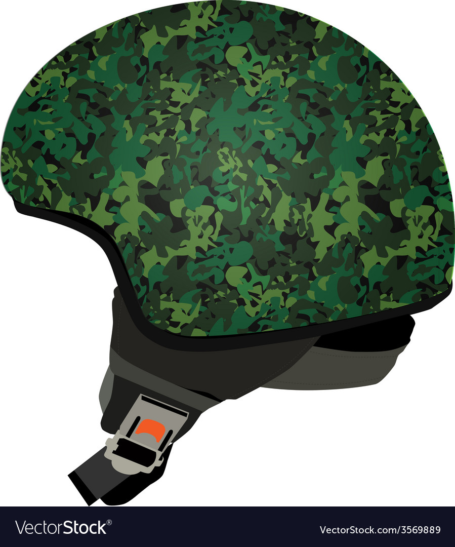 Green military helmet vector