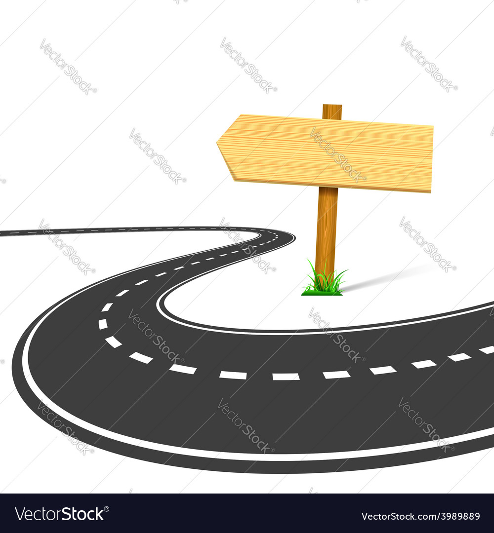 Highway and road sign with an arrow isolated on vector