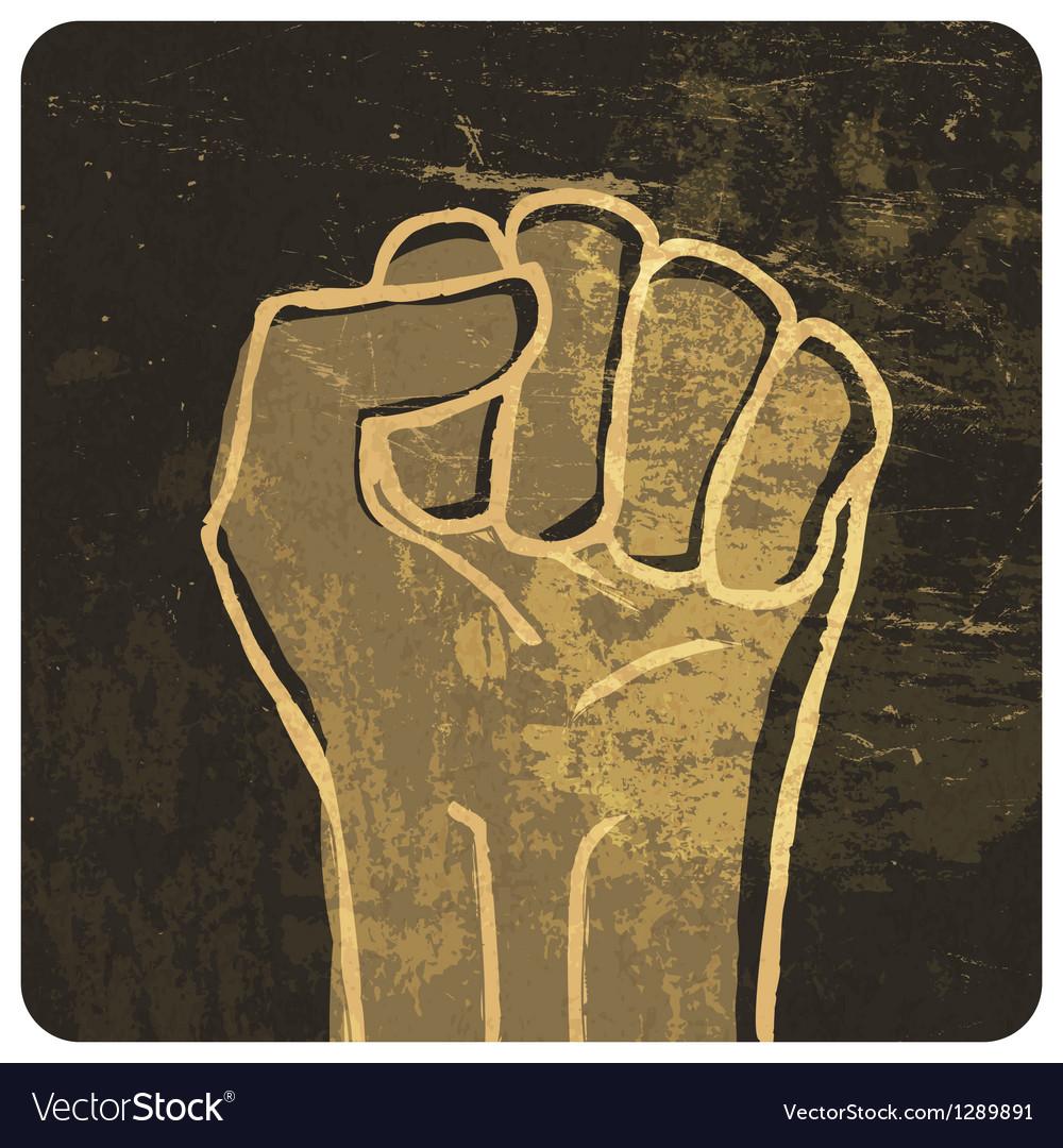 Fist grunge icon vector