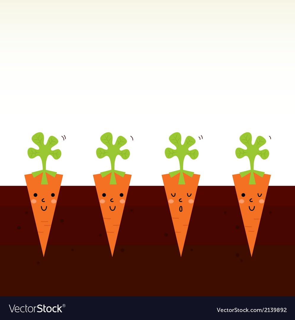 Cute beautiful cartoon carrot characters in row vector