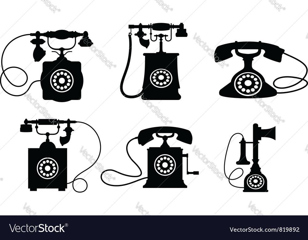 Vintage telephone set vector