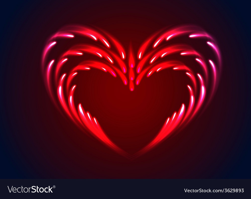 Heart with glow effect vector