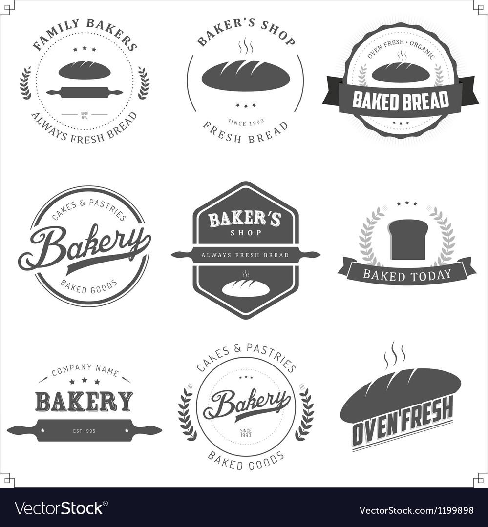 Set of vintage bakery labels and design elements vector
