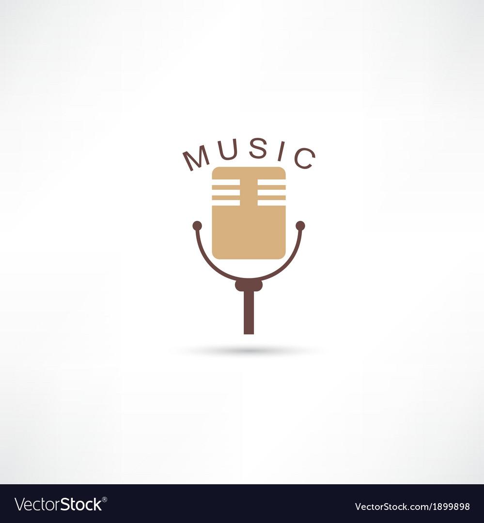 Studio mic grunge icon vector