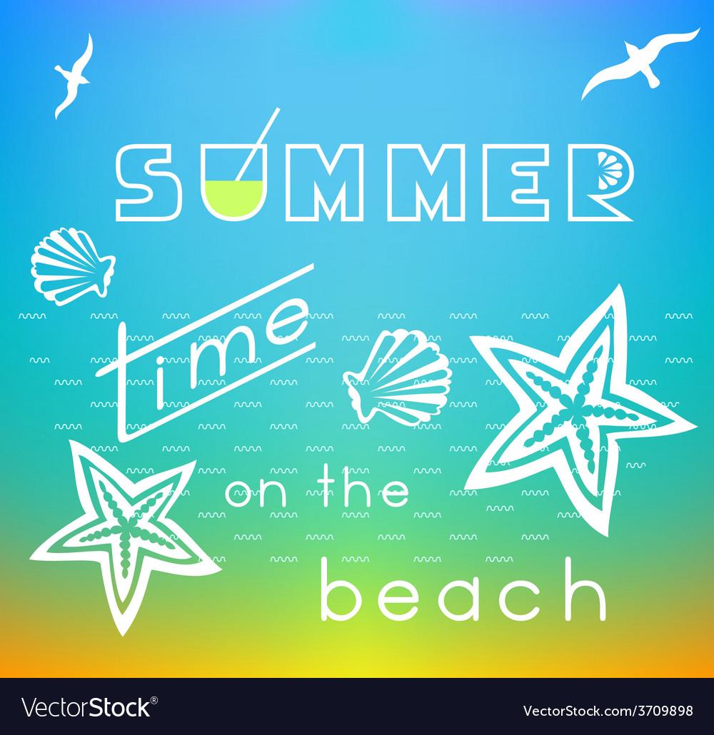 Summer time on the beach vector