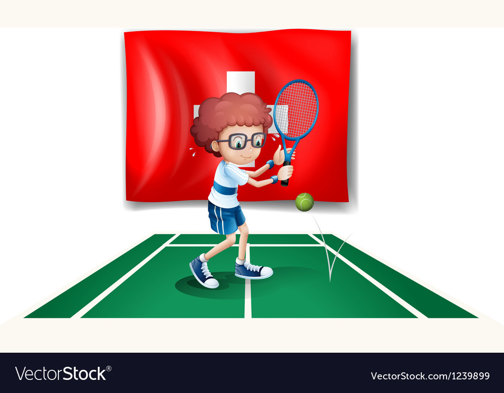 A boy playing tennis in front of the switzerland vector