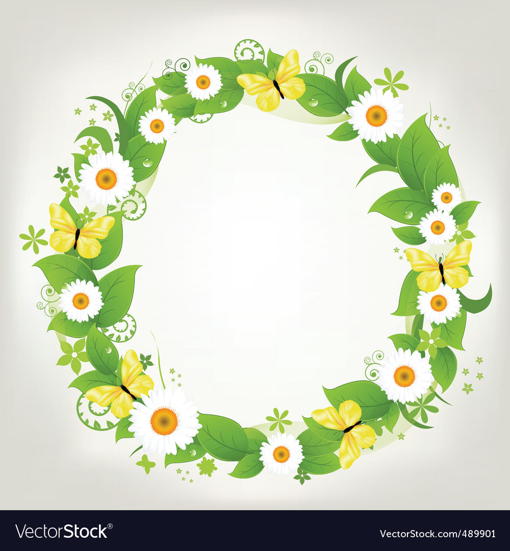Wreath from chamomile and butterflies vector