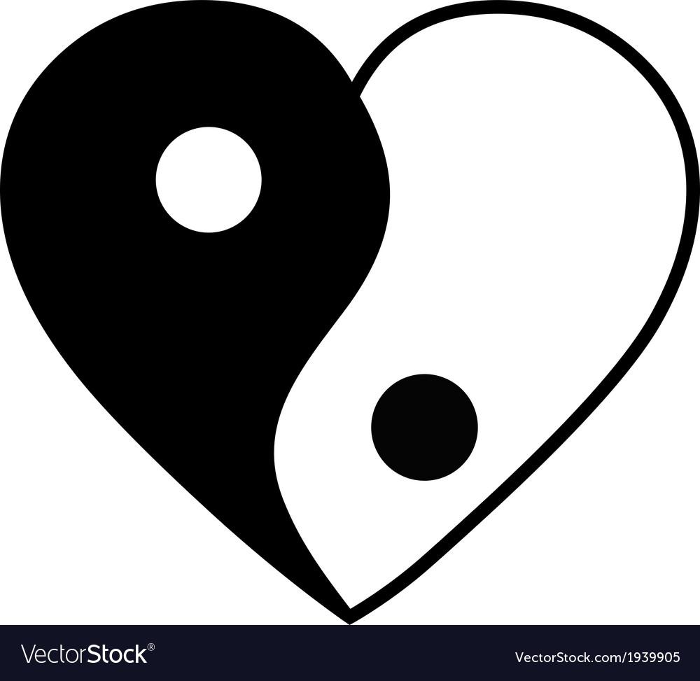 Yin yang heart vector
