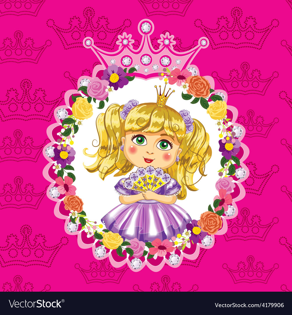 Little princess blonde on a pink background vector