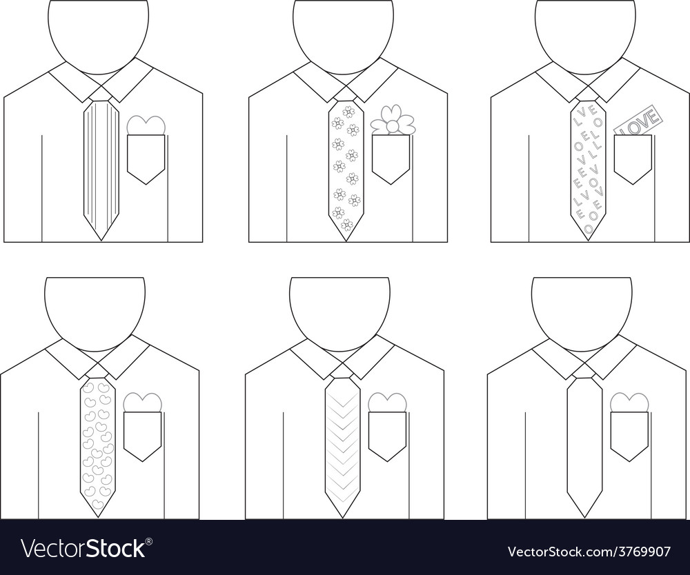 Linear man wear shirt with love1 01 vector