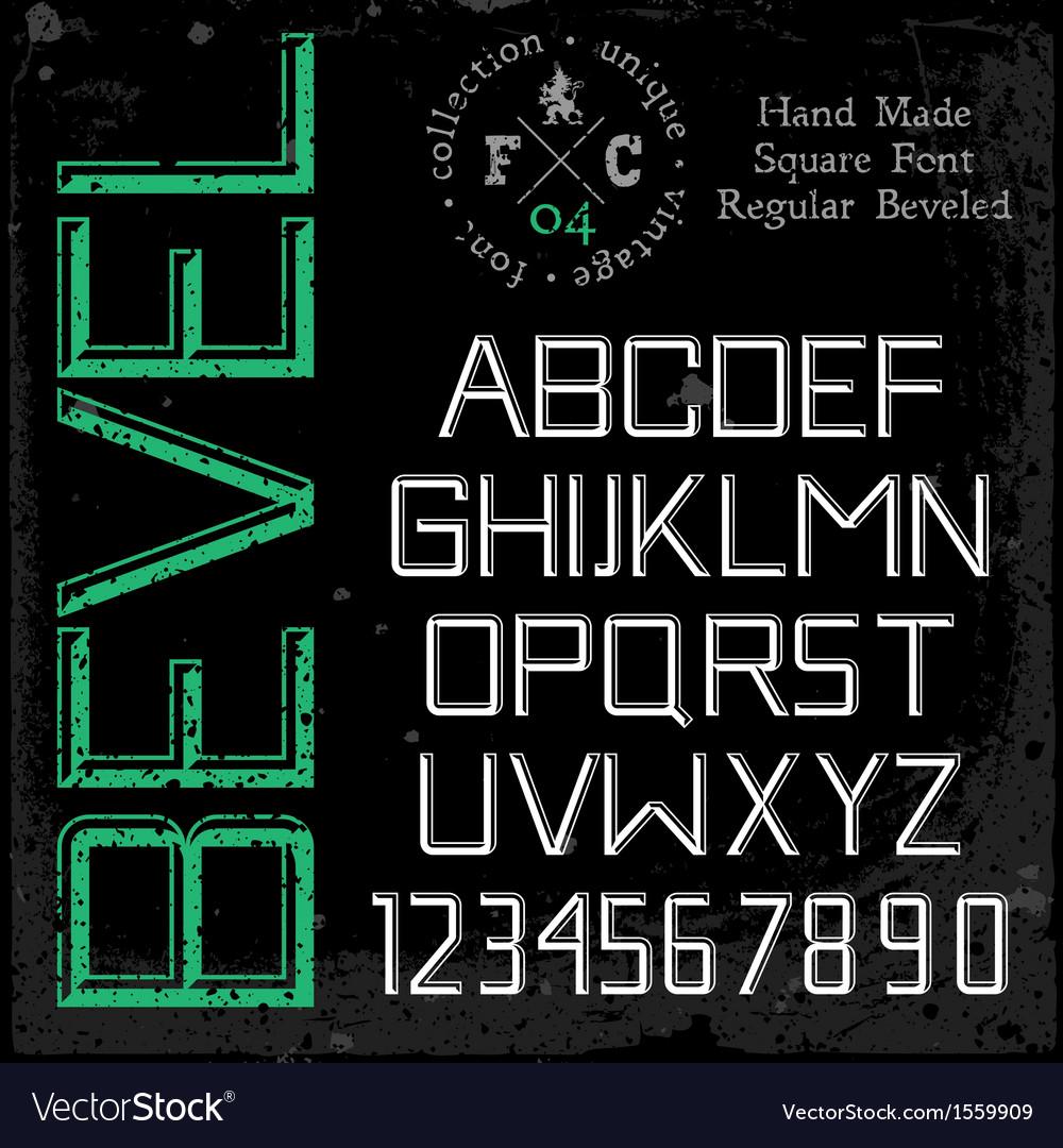 Handmade retro font beveled vector
