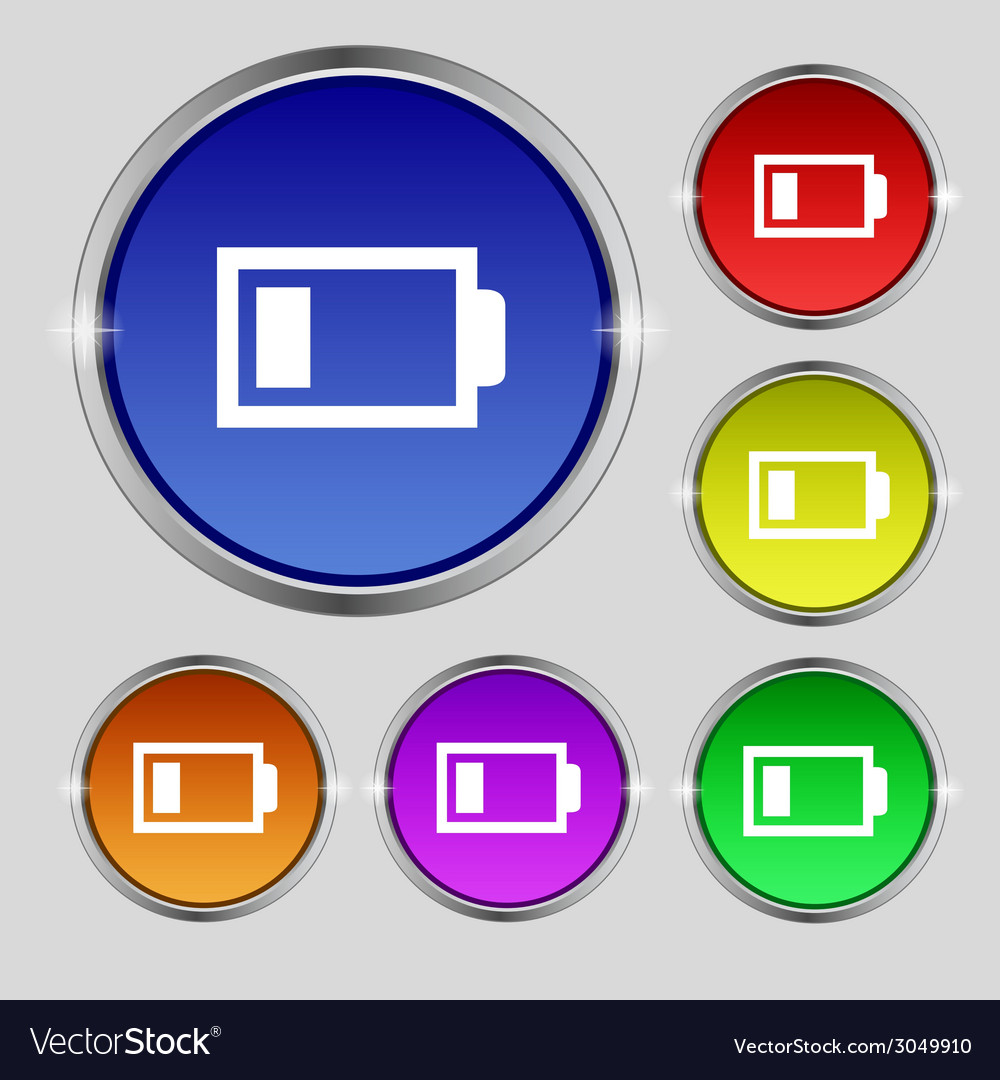Battery low level sign icon electricity symbol set vector