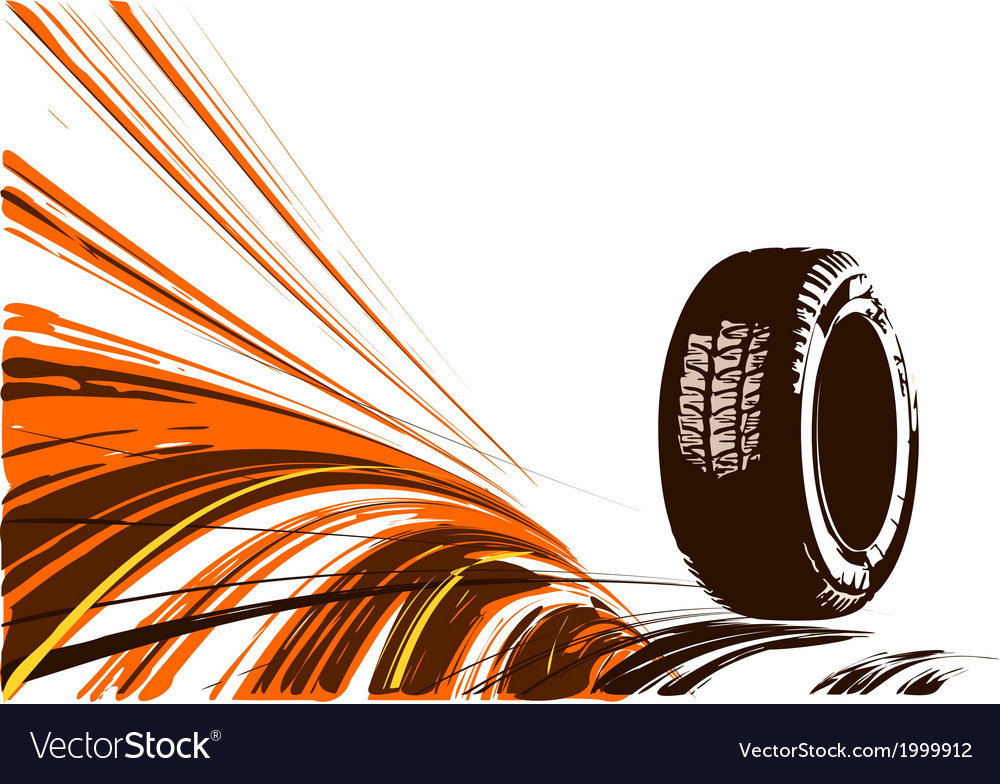 Automobile tire on a white background vector