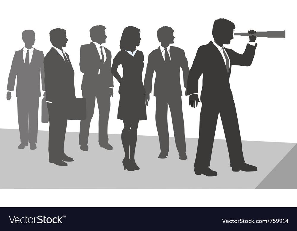 Business person telescope vector