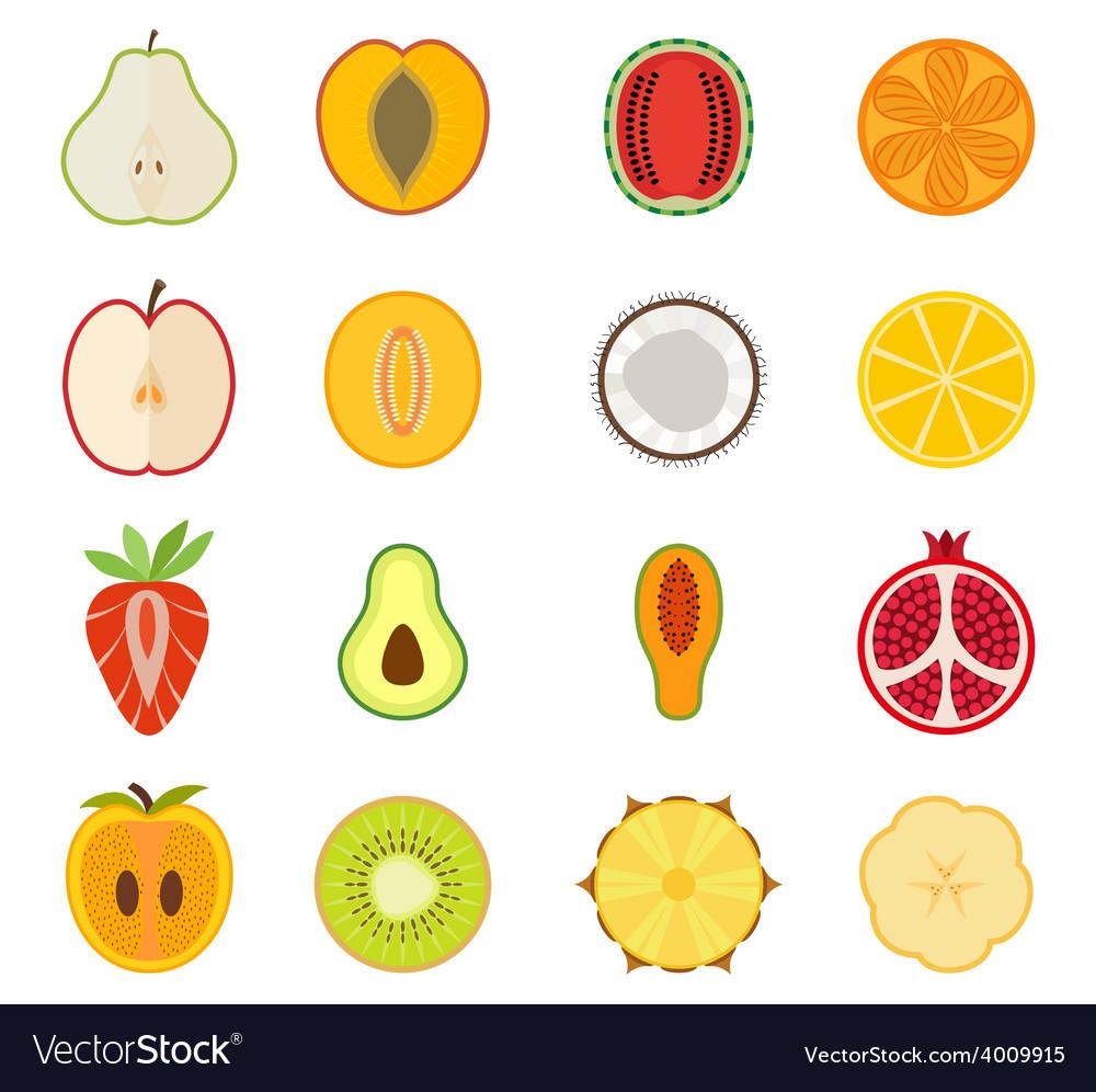 Fruit icon set - pear peach apricot vector