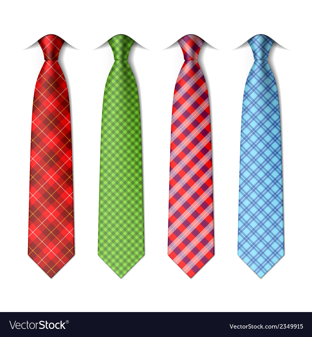 Plaid checkered silk ties vector
