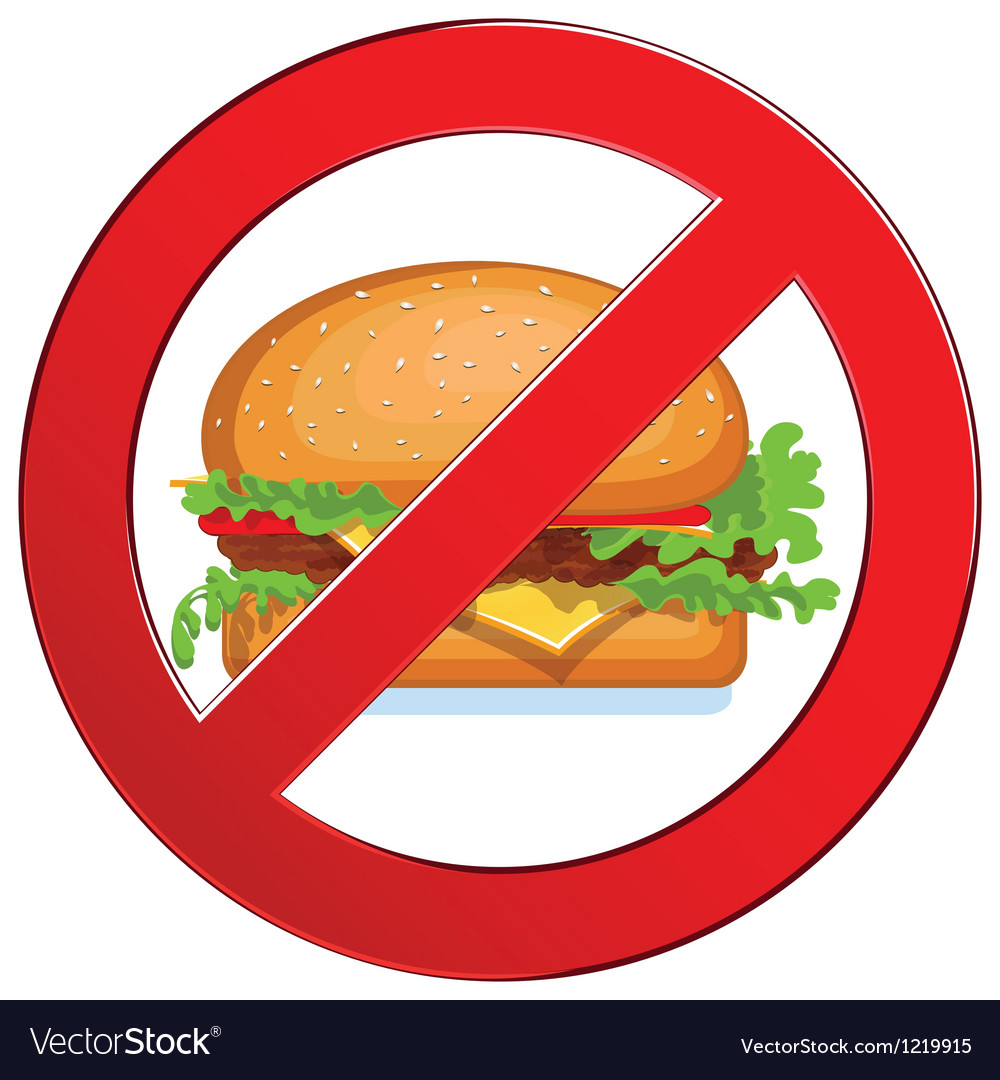 Sign forbidden fast food vector