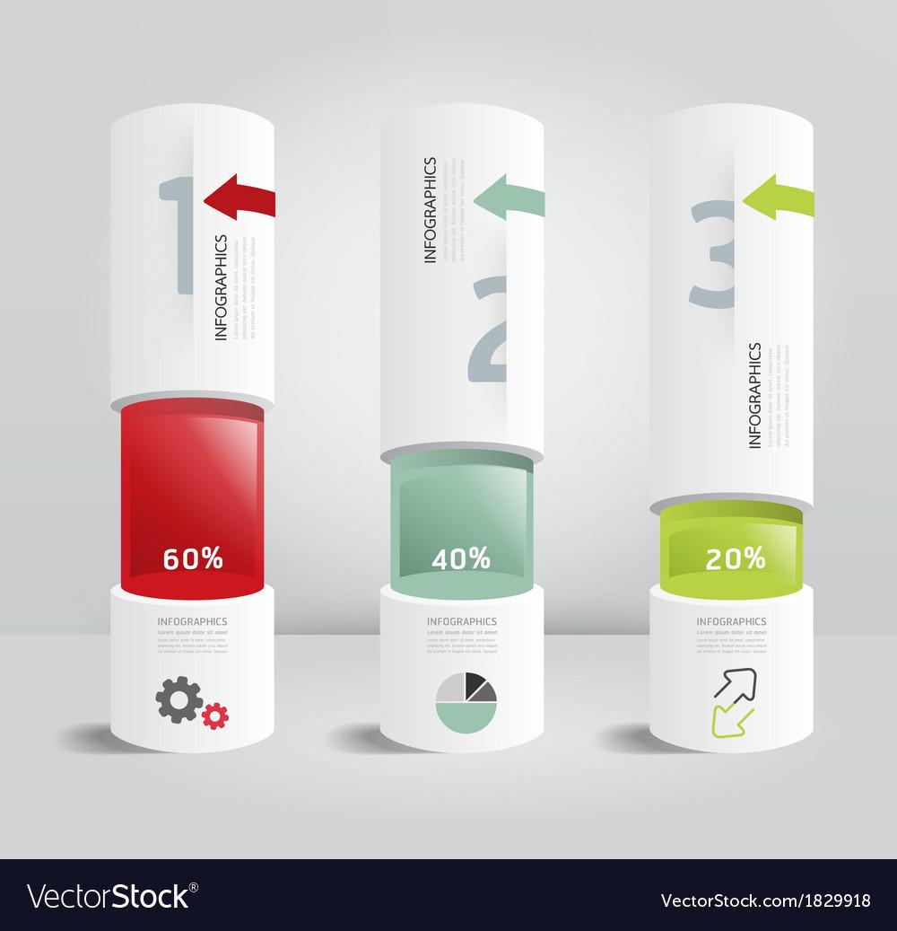 Infographic template modern box cylinder design vector