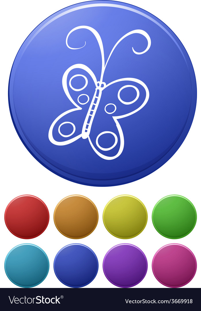 Small buttons and a big button with a butterfly vector