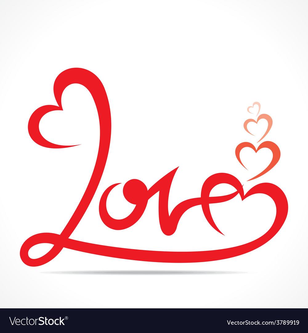 Creative typography of love design vector
