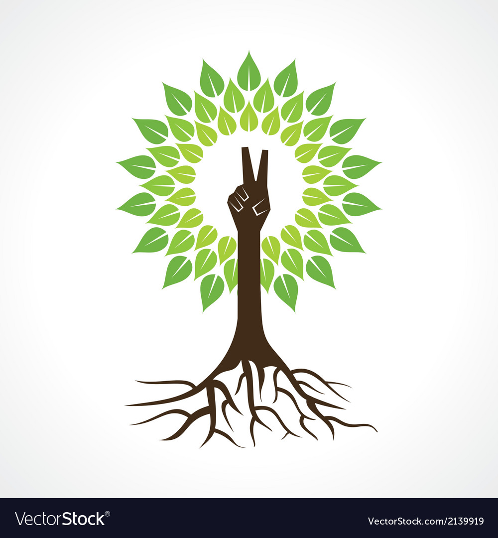 Victory hand make tree vector