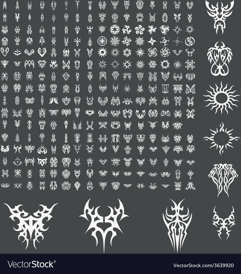 Huge tribal tattoo design pack vector