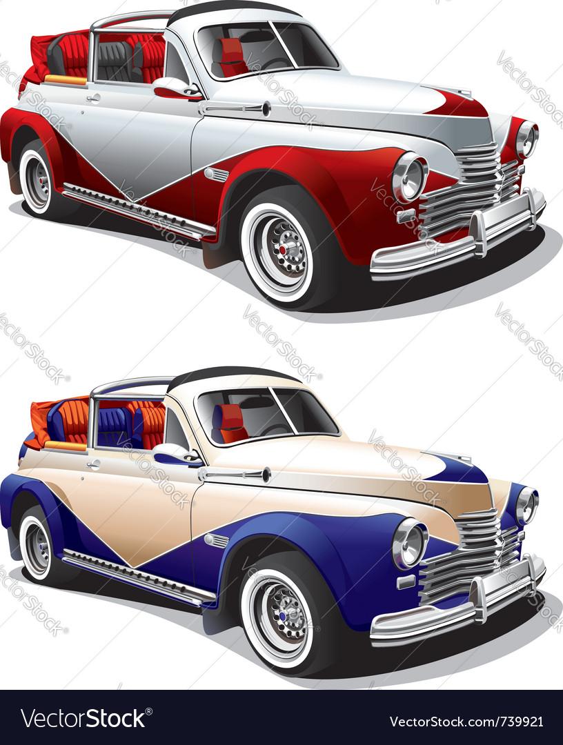 Vintage hot rod car vector