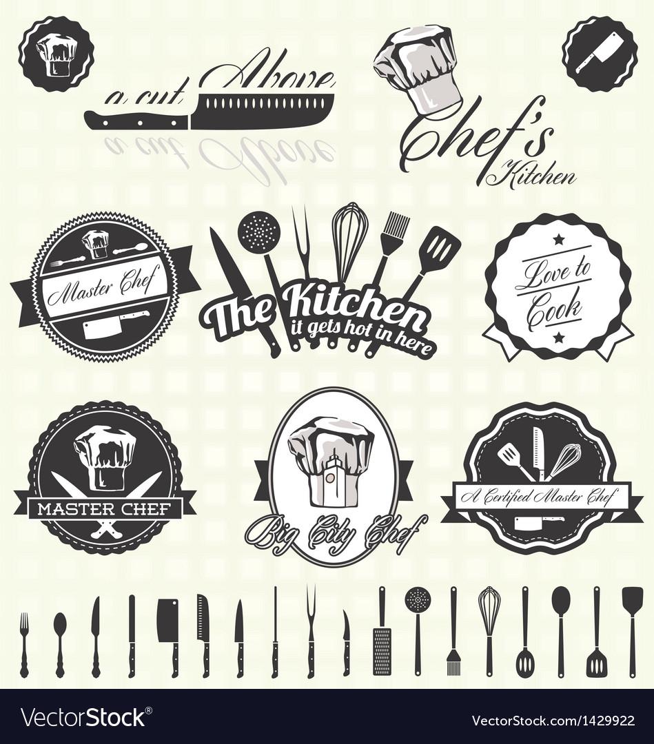 Retro style master chef labels vector