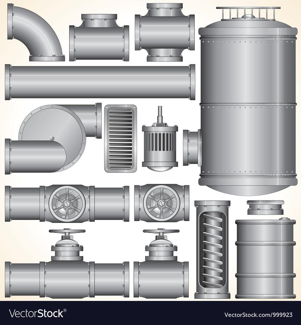 Industrial pipeline parts vector