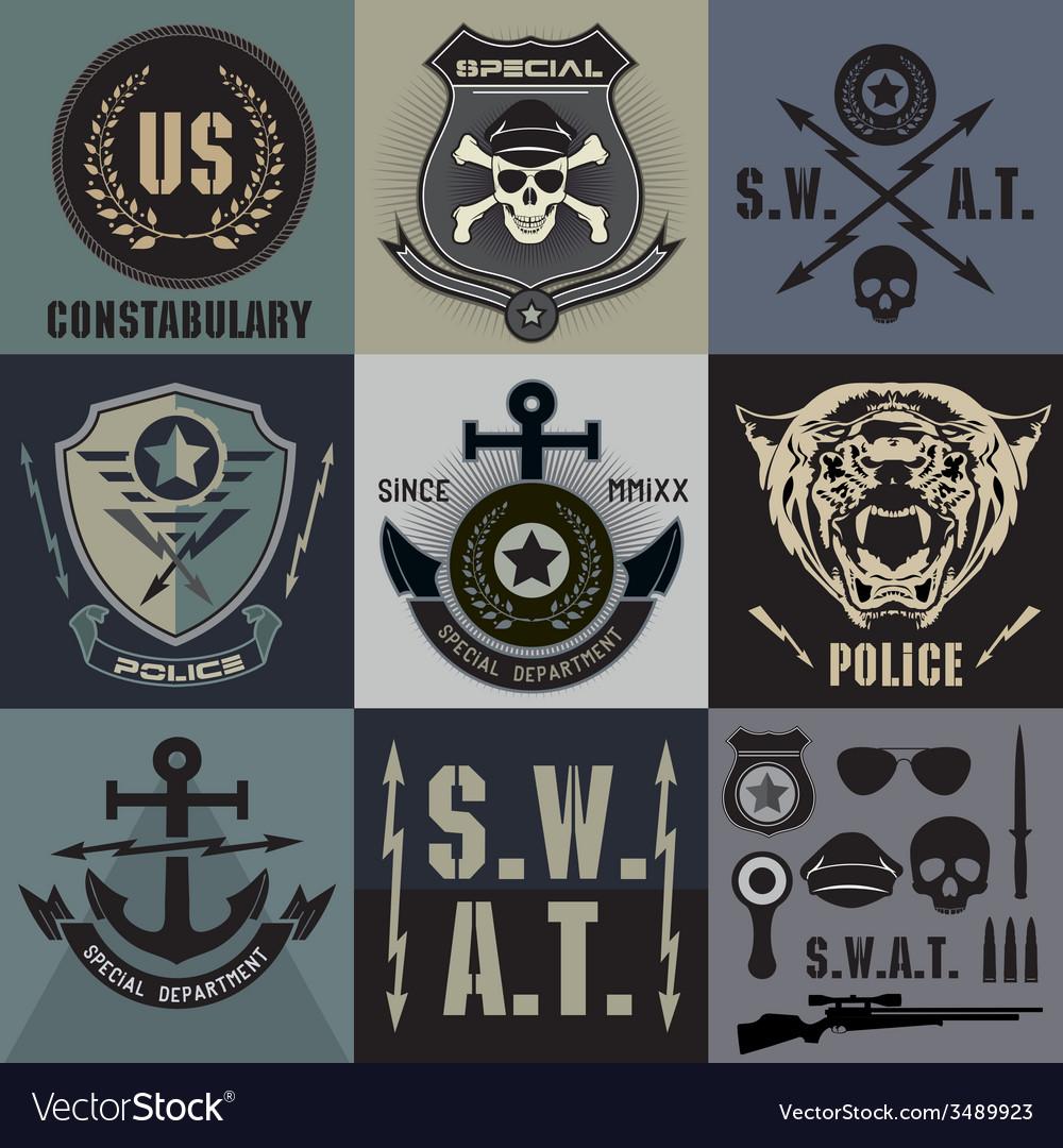 Set of police law enforcement badges and logo vector