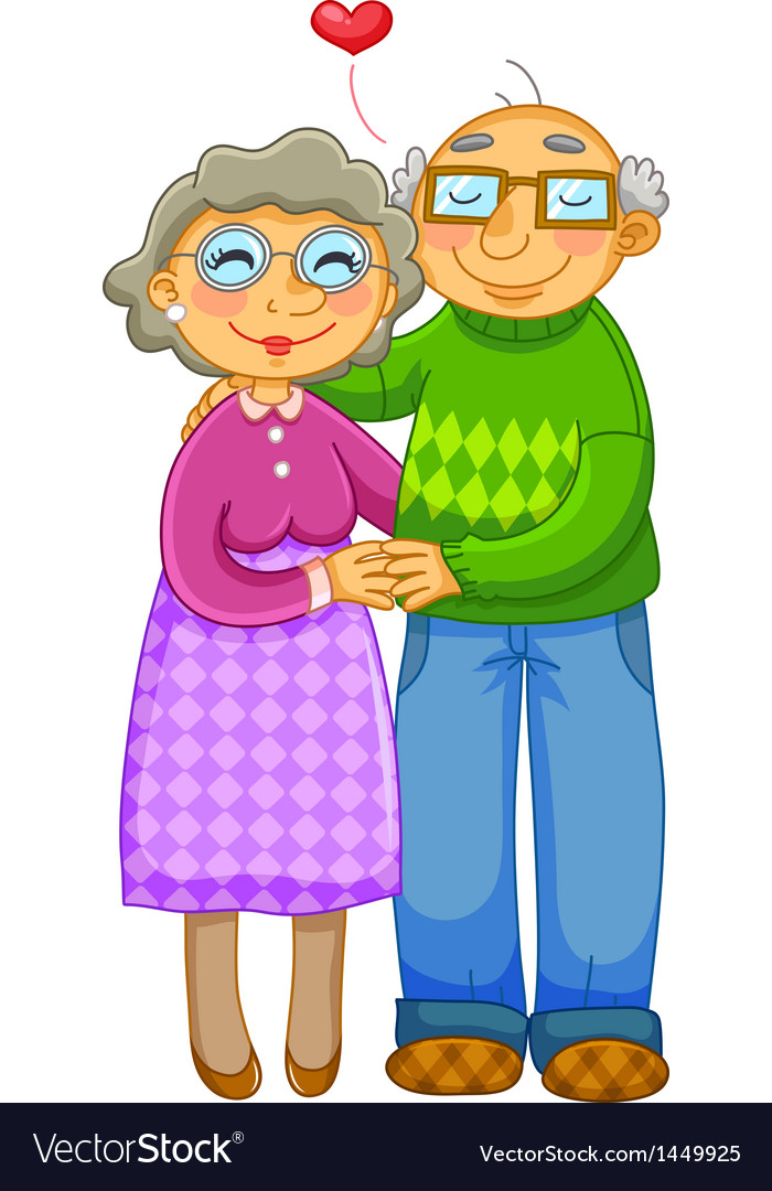 Loving old couple vector