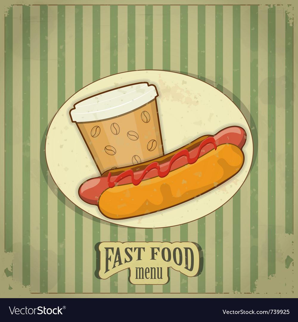 Vintage fast food menu vector